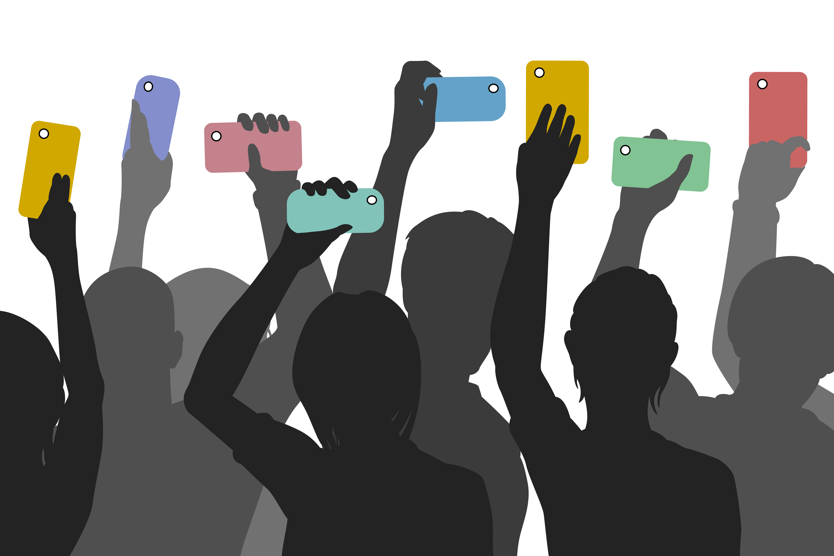 crowd with mobile