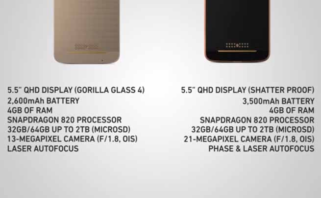 Moto Z and Moto Z Force specs comparison